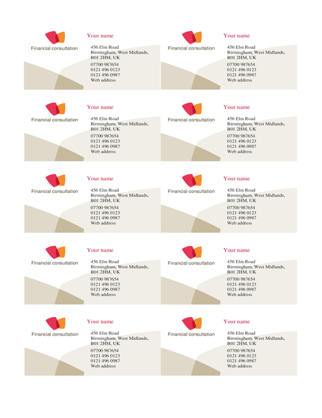 Financial business card (10 per page)