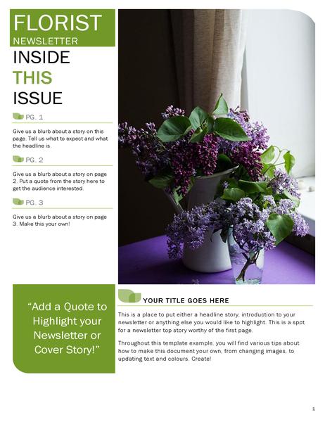 Florist newsletter