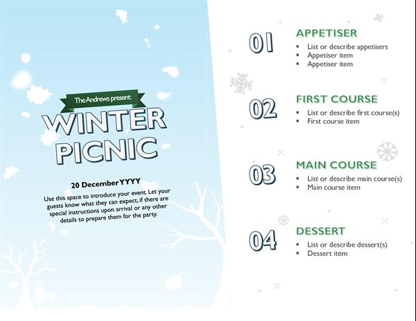 Snowy Christmas menu