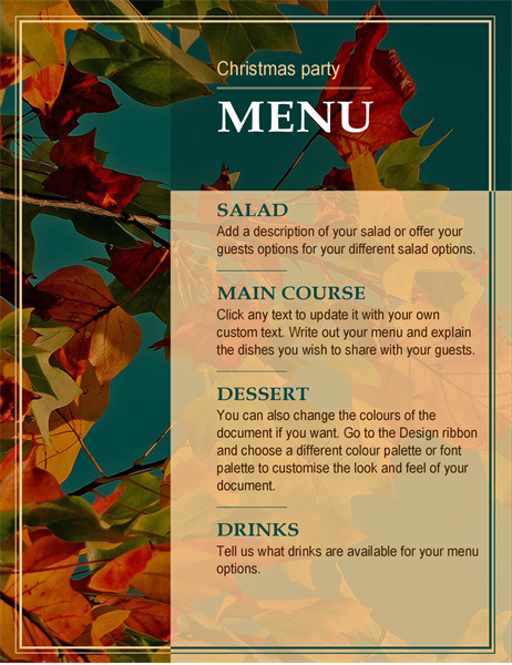 Autumn leaves Thanksgiving menu