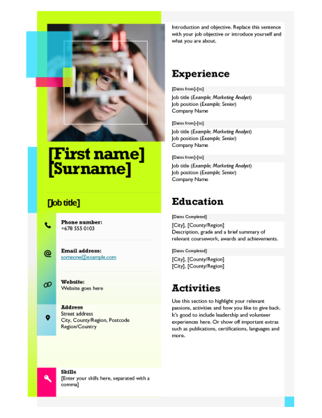 Sticky note resume