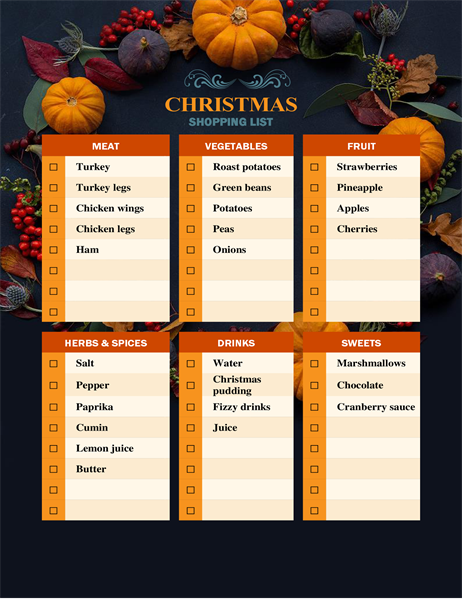 Nature's bounty Christmas shopping list