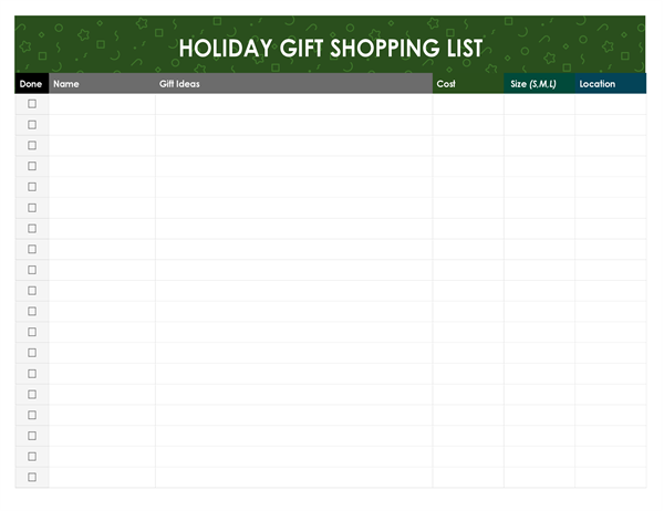 Christmas presents shopping list