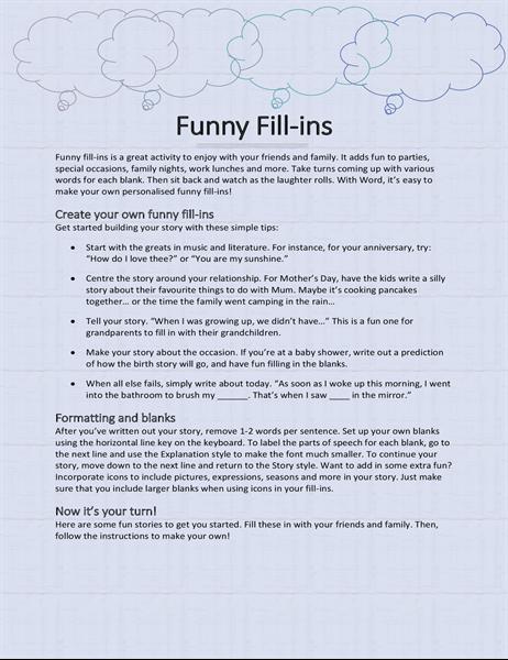 Fun fill-in story