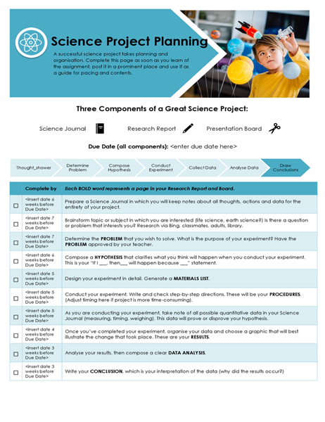 Science project planner