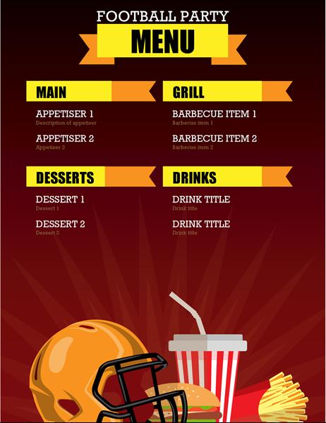 Football party menu