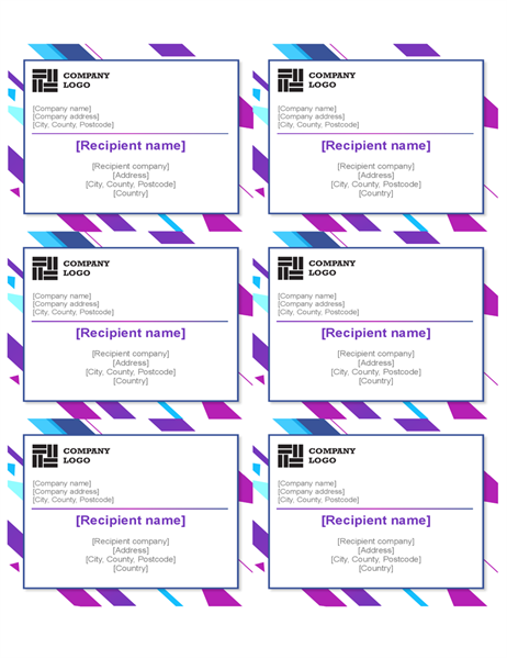 Purple graphic labels (6 per page)