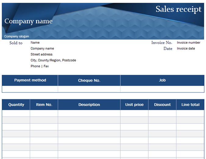 Blue sales receipt