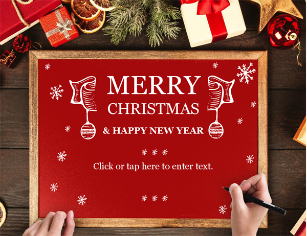 Wooden frame Christmas card