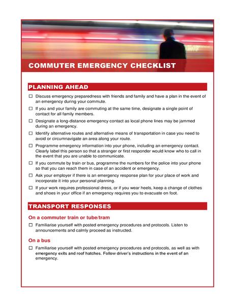 Commuter emergency checklist