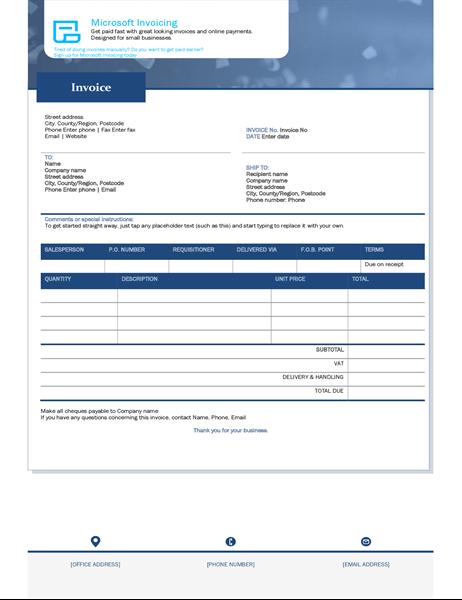 Invoice with Microsoft Invoicing