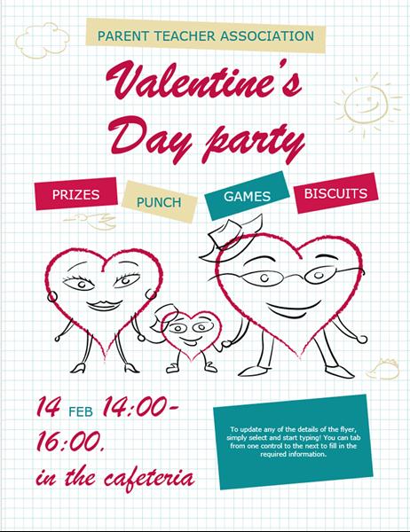 Cartoon hearts Valentine's flyer
