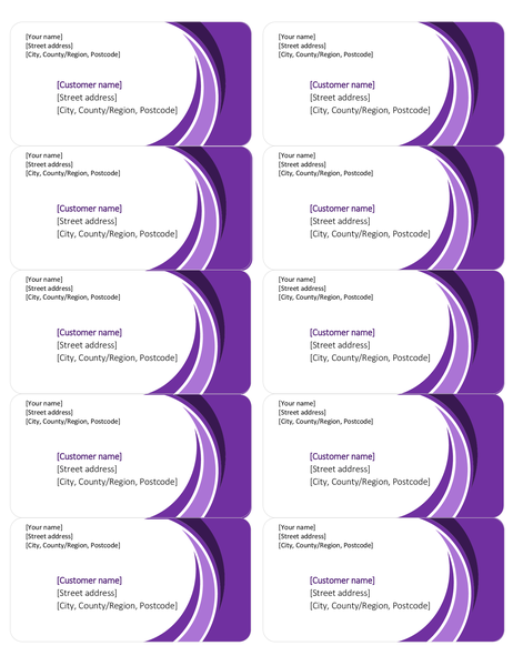 Purple shipping labels (10 per page)