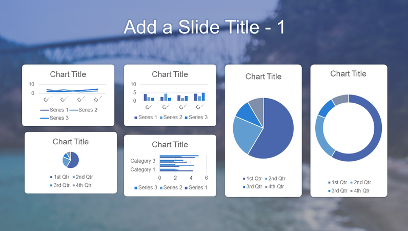 Blue six chart dashboard