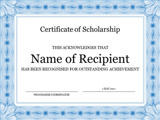 Certificate of scholarship (formal blue border)