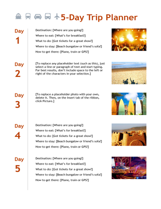 5-day trip planner