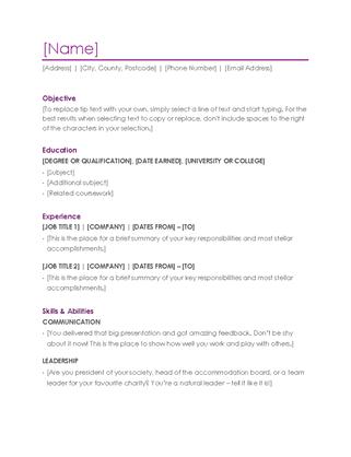 Resume (violet)