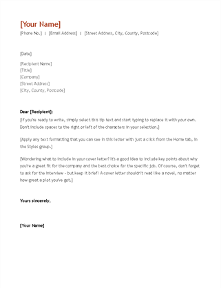Resume and cover letter (chronological)