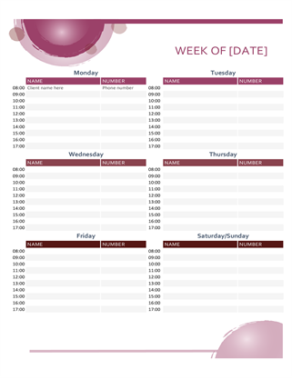 Rose suite appointment calendar