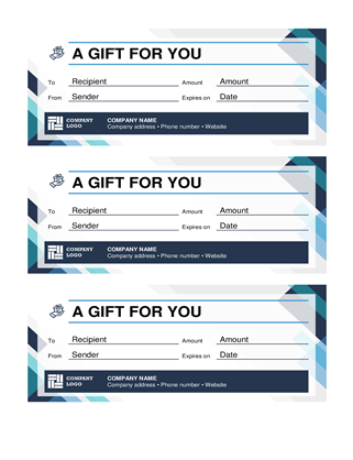 Gift certificates (three per page)