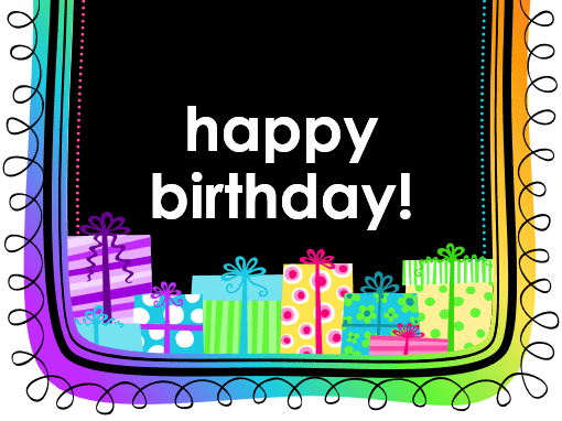 birthday card gifts on black background half fold
