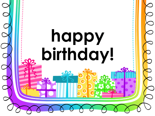 birthday card gifts on white background half fold