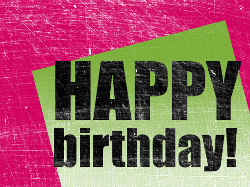 Birthday card scratched background pink green halffold – Green Birthday Card
