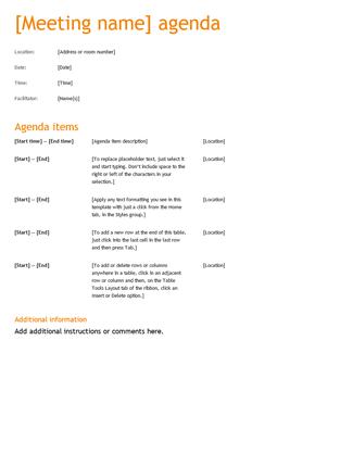 Business meeting agenda (Orange design)