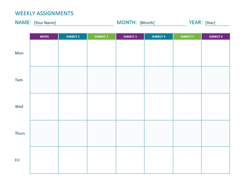 Weekly Assignment Sheet Office Templates