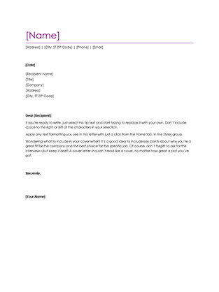 generic cover letter for resumes
