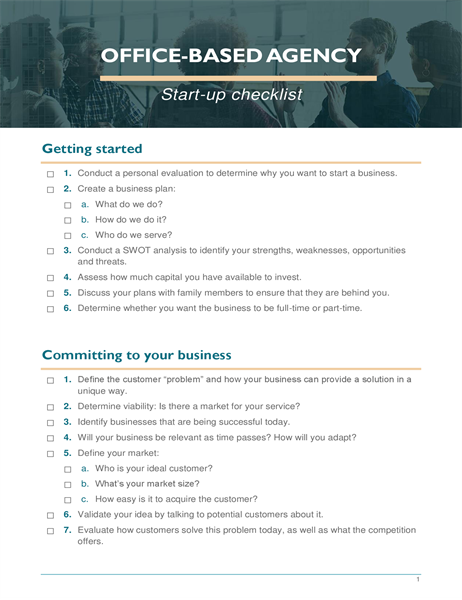 Small business start-up checklist