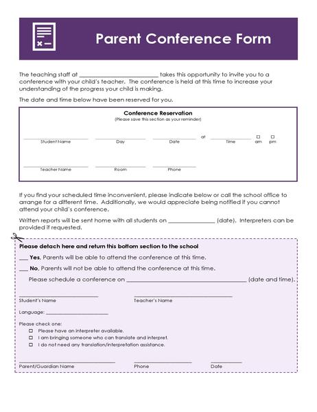 Parent's evening form