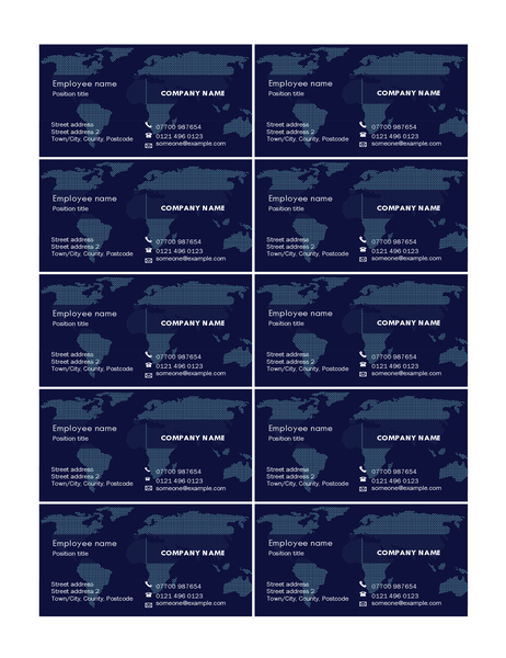 Business cards with map (10 per page)
