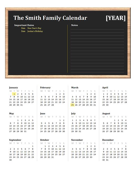 Family calendar (any year, Mon-Sun)