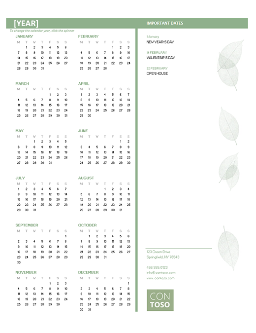 Small business calendar (any year, Mon-Sun)