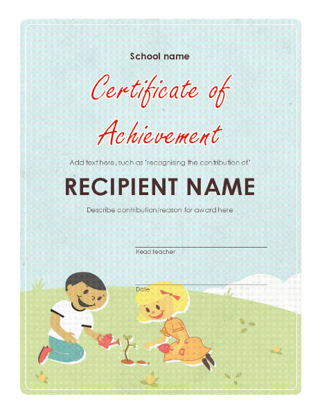 Primary school award certificate