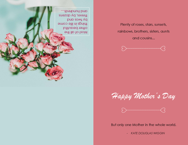 Mother's Day card (with poppy flower, quarter-fold)