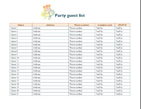 Party guest list