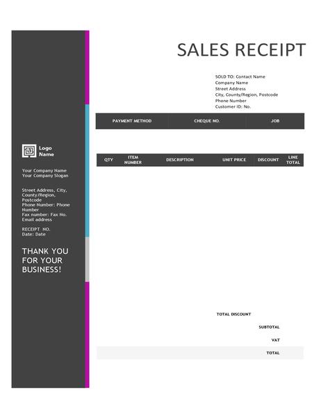 Sales receipt (blue gradient design)