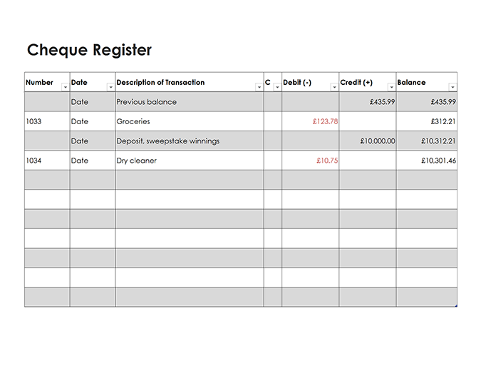 Cheque register (Simple)