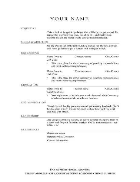 Sales manager CV (elegant)