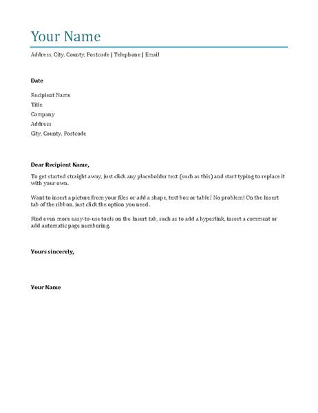 Cover letter (blue)