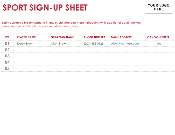 Sport sign-up sheet