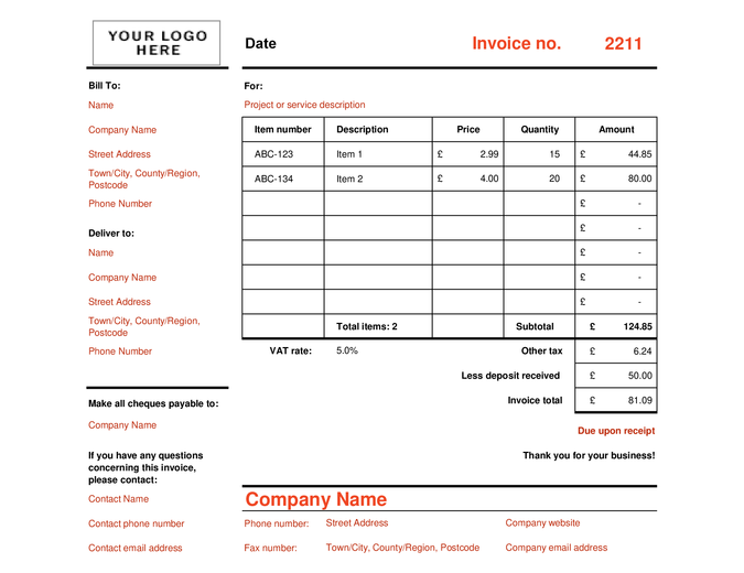 Invoice that calculates total