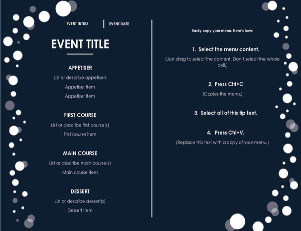 Menu (Elegant party design)