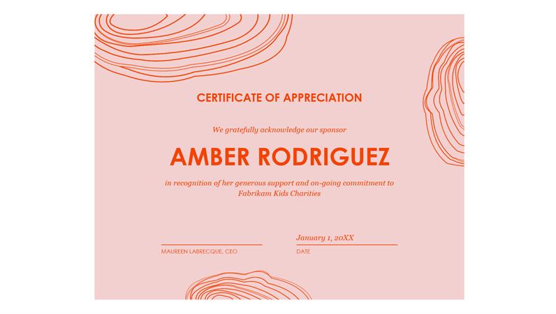 Certificate of appreciation to sponsor