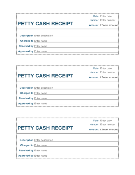 Petty cash receipt (3 per page)