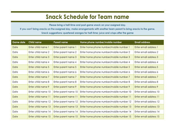 Youth Sports Snack Sign Up Sheet