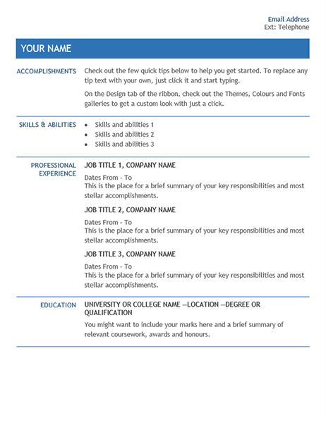 CV for internal company transfer