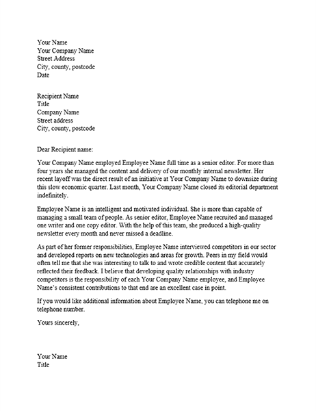 Reference letter for professional employee Office Templates